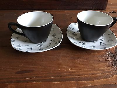 Pair of Stylish Midwinter Monaco Coffee Cups and Saucers 1950's 60's Jessie Tait