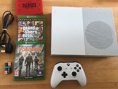 X Box One S  1TB Model : 1681 White With x 1 Controller & Three Games