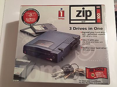 New/Sealed Iomega Zip 100 Drive for Windows and Mac Computers - SCSI Connection