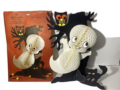 Vintage Halloween Decoration Ghost Owl Cat Centerpiece USA Made 13 1/2 In.