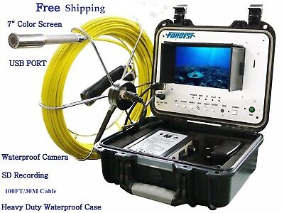 Sewer Drain Pipe 1 Waterproof Inspection Camera 100ft30m Cable Lcd 7 Usb Sd