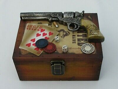 Western Cedar Wooden Storage Box w/ Pistol, Poker Cards, Chips, Wanted Poster - Poster Storage Box