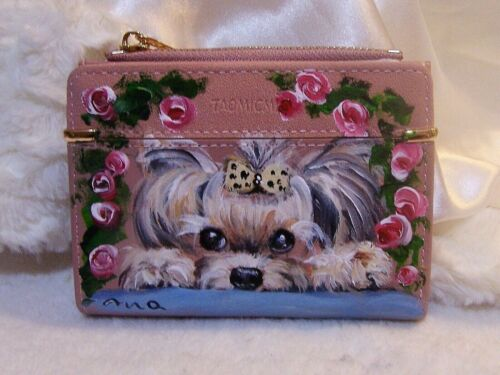 Yorkie hand painted wallet coinpurse