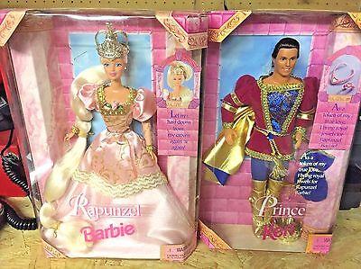 Barbie Fairytale Rapunzel & Prince Ken Doll Mattel 17646 1997 Blonde Pink Dress