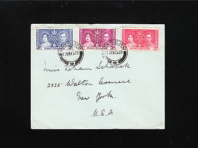 Basutoland George VI Coronation Set 5.12.37 Maseru Cover To NY USA ¬