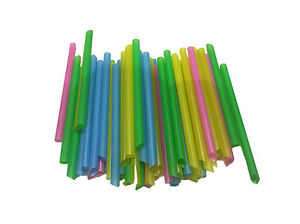 200pc Large Wide Plastic Drinking Straws Colourful Jumbo Straws Party 20cm