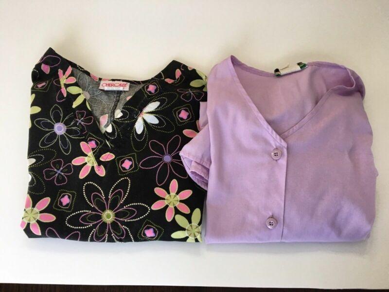 Nursing Medical Scrubs Shirts Size Medium 2 Cotton Cherokee
