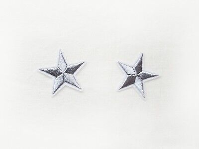 2x Silver stars Iron On Embroidered Patch costume pinup Rockabilly military DIY