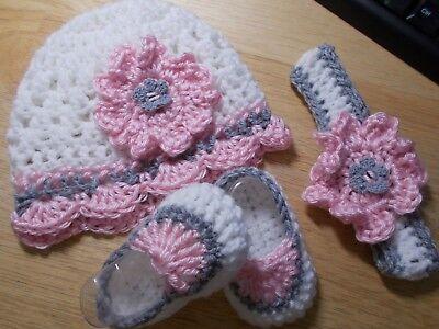 Girls Hat Set (Handmade Crochet Baby Girl Hat, Booties, Headband Set White & Pink  0- 3)