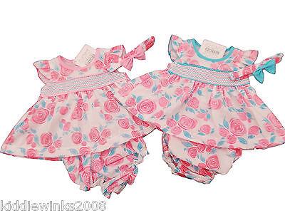 BNWT  NB Prem Premature Preemie Baby Girls Clothes 3 Piece roses dress Set