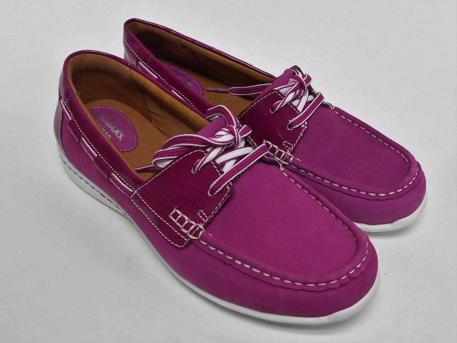 D010 New Women's Clarks Cliffrose Sail Fuchsia Lace Up Boat Shoes 10 M