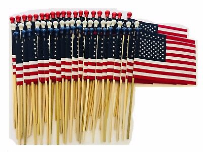 60 TOTAL 4X6 INCH US MADE AMERICAN HAND HELD STICK FLAGS WITH SAFETY BALL TIPS