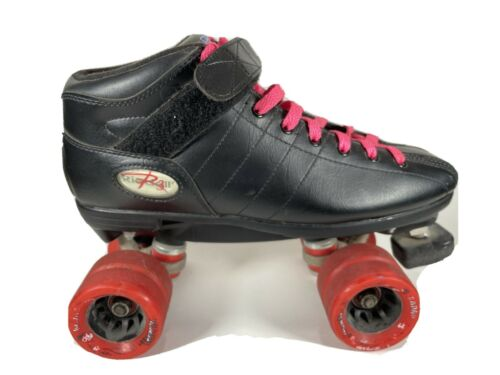 Riedell R3 Cayman Black Roller Derby Quad Speed Skates Womens Size 9 Mens Size 7 - $97.49