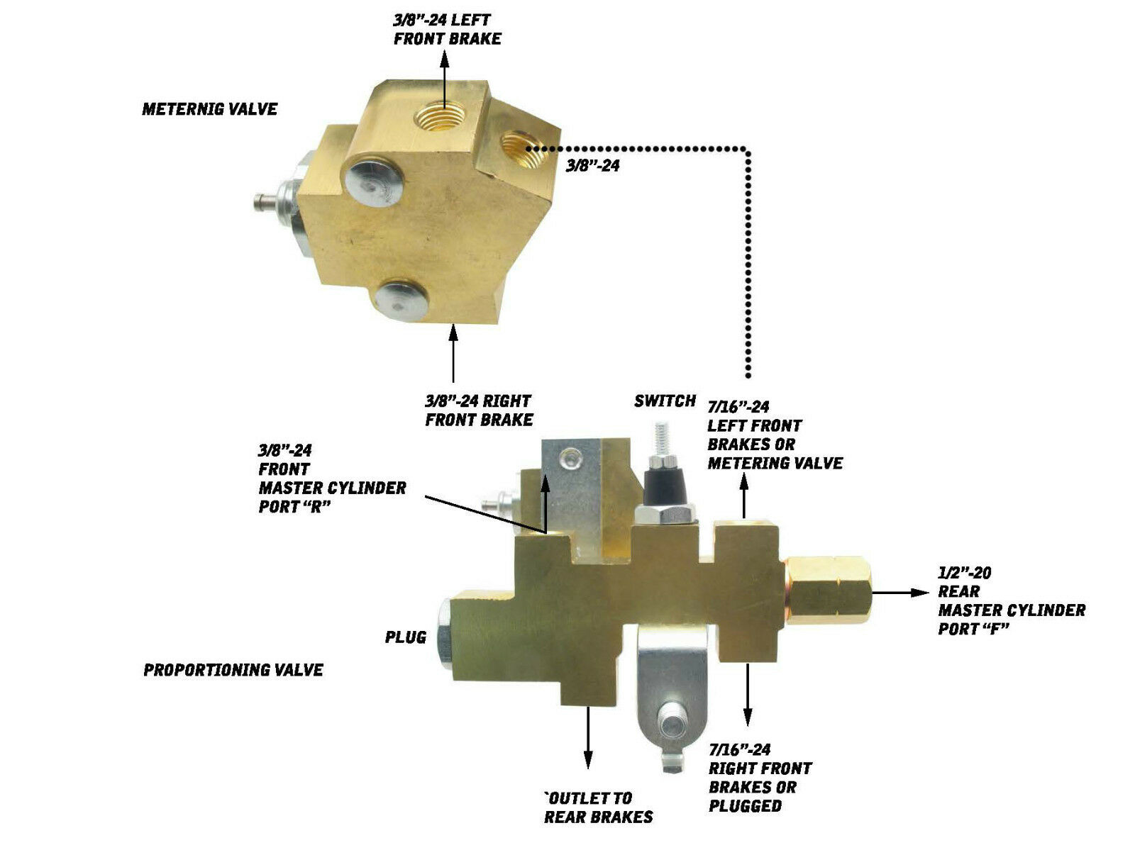 Mopar Disc Brake Proportioning Valve Metering For Drum Wilwood Kitfront Rear6569 Mustangblack Ebay