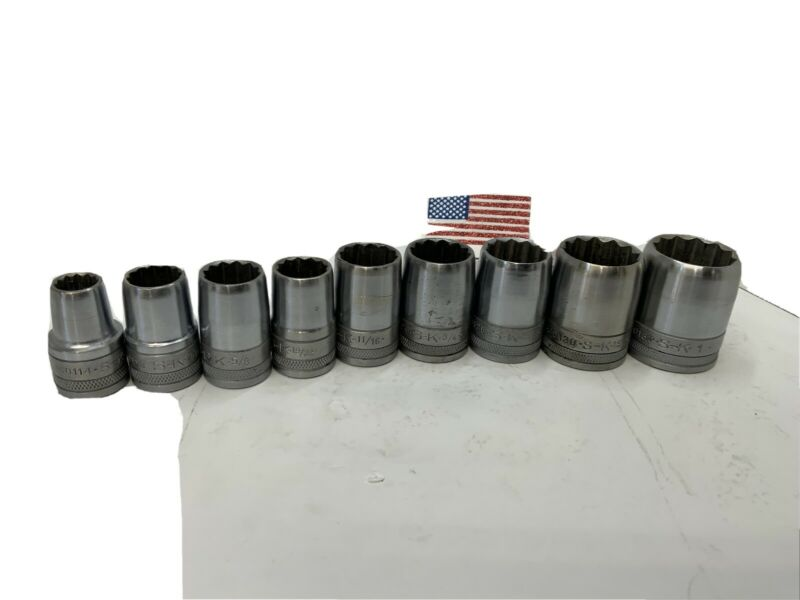 S-K 1/2 drive 9pc Socket Lot, Rounded Top with Drive Recesses, USA