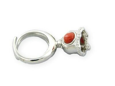 Round Coral Ring Charm Pendant Rattle Xylophone 925 Sterling Silver ORIGINAL
