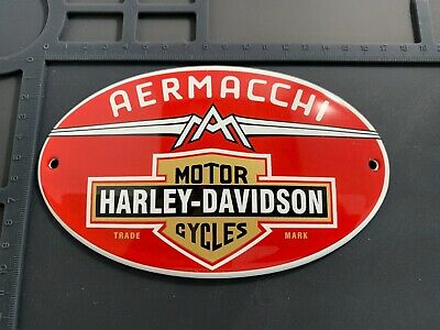 Retro Repro Aermacchi Harley-Davidson Enamel Garage Shop Plaque Plate Sign Tile