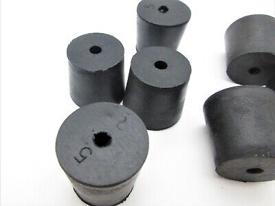 5 Solid Rubber Stoppers. Lab Tapered Plug Cork.1 Hole. Fits 2932 - 1 116 Id