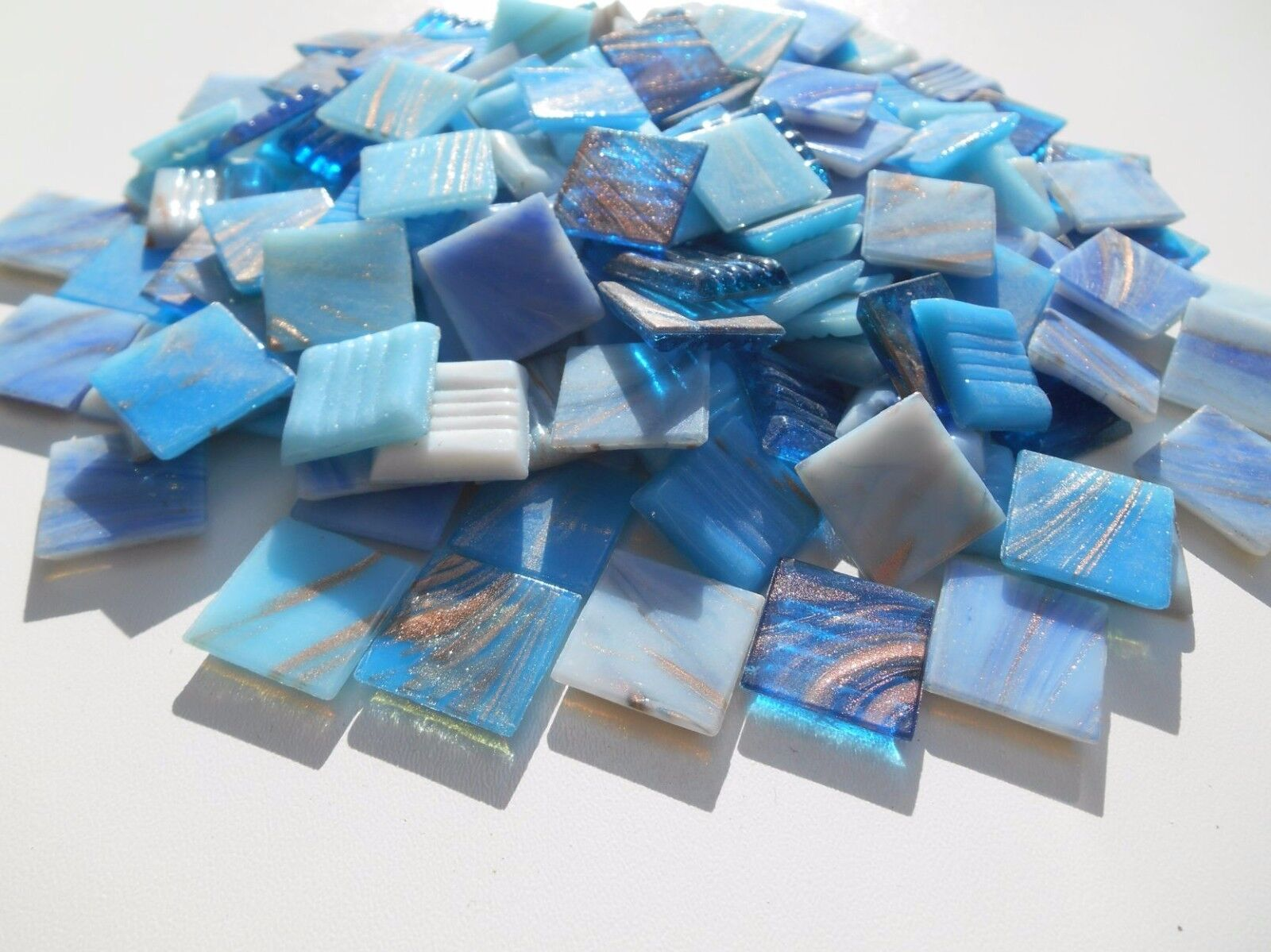 Mosaiksteine 1000g wunderschöner Blau Mix mit Goldregeneffekt lose zum Basteln