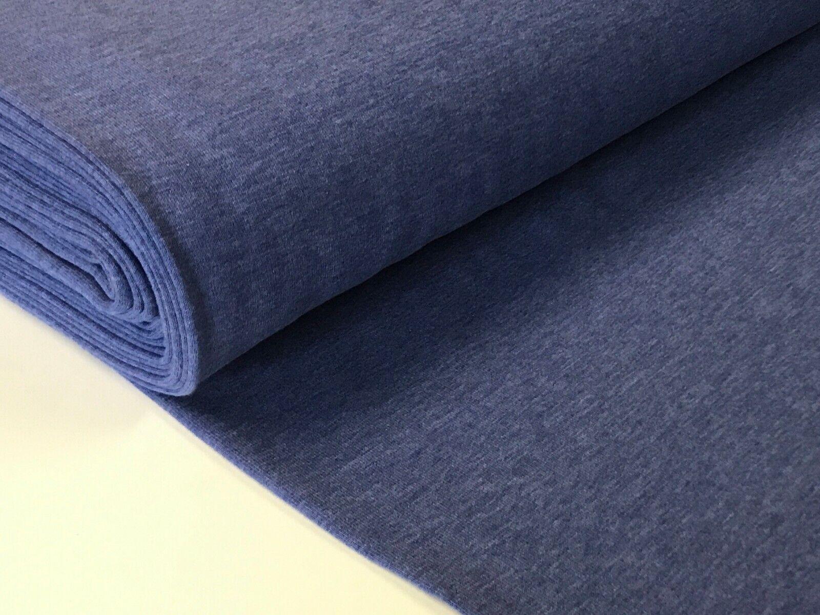 Sweatstoff meliert uni viele Farben METERWARE ÖKOTEX angeraut 140 cm breit Royalblau