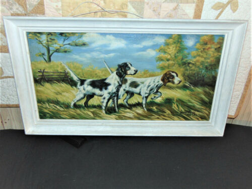 VINTAGE SIGNED HUNTER OIL PAINTING OF SPANIEL HUNTING DOGS