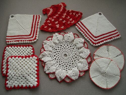 Vintage Red & White Hand Crocheted Hot Pads Pot Holders Trivets ~ Mixed Lot of 8
