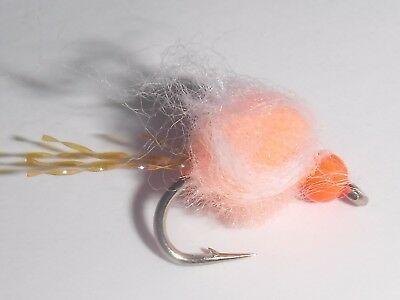 Per 6 Bead Head Estaz Egg Bright Orange Size 10