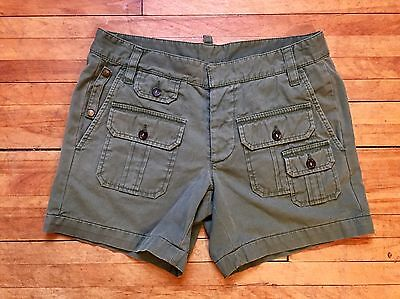 DSQUARED 2 RUNWAY CAMP MULTIPOCKETS MILITAR GREEN COTTON SHORTS S 46 30 ITALY
