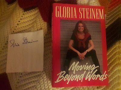 Gloria Steinem signed autograph book cut out page!