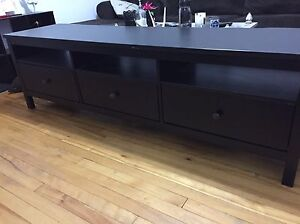 Lengthy dark brown TV stand