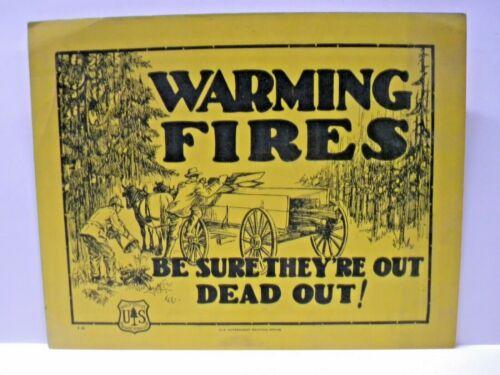 1920-38 Vintage Forest Service Sign Warming Fires HORSES LOGGING