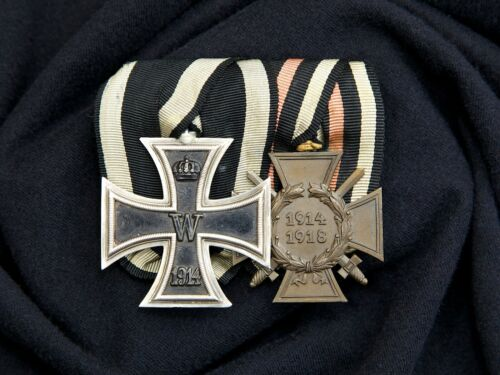 WWI Named Medal Bar Iron Cross 2nd Class Hindenburg w/ Swords Cross, Sewn Mount