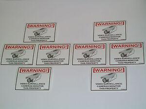 Security Surveillance CCTV Camera Warning Sticker 8 Lot
