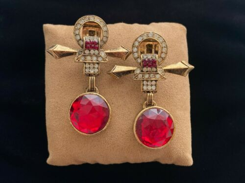 Vintage Uncommon Ankh Shape Cherry Red & Pave Rhinestone Statement Clip Earrings