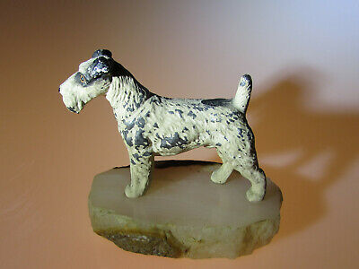 Vintage Torquay Fox Terrier dog ornamnet, cold painted spelter with a marble bas