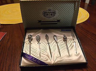 Set Of 6 Sterling Silver Vintage Snack Picks With Box
