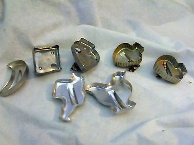 Vintage Tin Metal Cookie Cutters with handles, Lot of 7