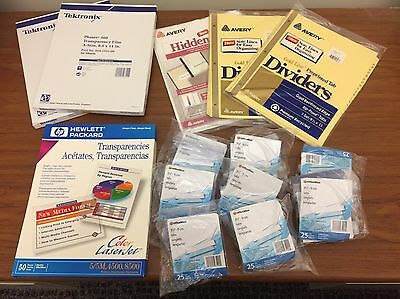 Lot Of Office Supplies - Avery Dividers Tabs Card Stock Transparencies 200