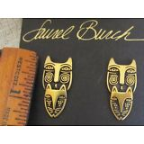 Rare VINTAGE Signed LAUREL BURCH CAT MASK POST Gold EARRINGS NOS