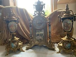 Vintage Italian Lancini Franz Hermle Brass Porcelain Ormolu Clock Set- 3 Piece