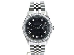 Mens Rolex Datejust Date Stainless Steel Watch w/Black Diamond Bezel