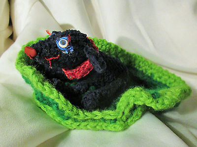BLACK LAB DOG DOLL ooak folk art crocheted plush soft crochet mini small bed red
