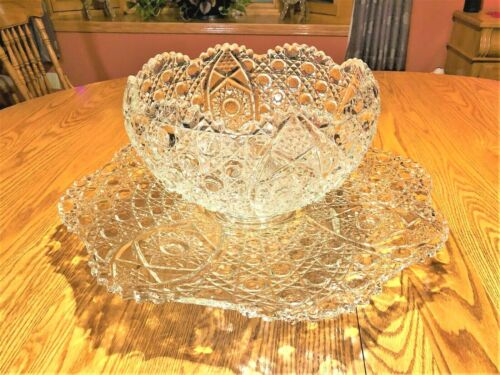 Gorgeous Vintage  L.E. Smith DAISY HOBSTAR & BUTTON PUNCH BOWL with UNDERPLATE