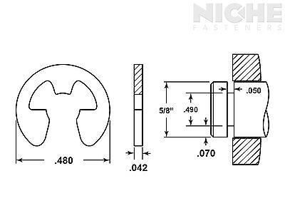 E-Clip External Retaining Ring Clip 5/8 CS PH (300 Pieces)