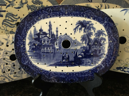 Antique English Meat Platter Drainer Flow Blue Victorian Transferware China