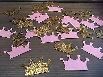 100 Princess Crowns, Gold glitter and Pink crown Confetti, Baby Shower, Royal