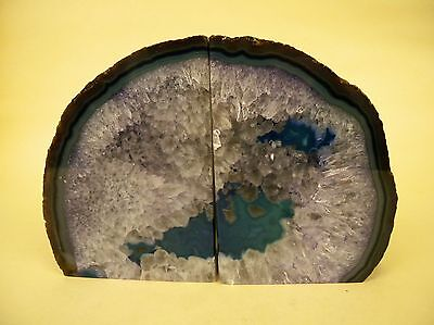 Large Agate Crystal Geode Pair Bookends Book Ends Blue Purple 8.5 lbs.