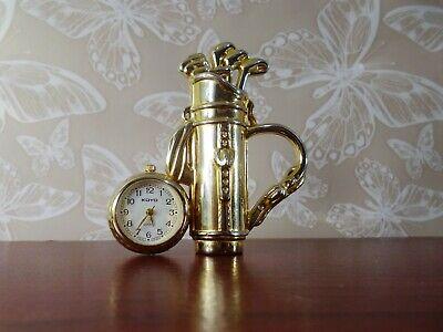 A stunning Golf bag quartz clock made in solid brass