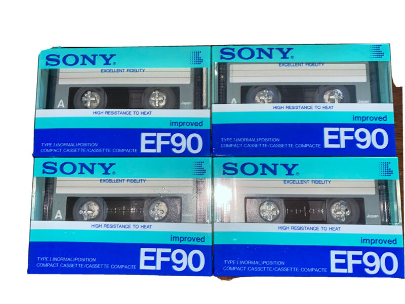 Sony Compact Cassette EF90 Lot Of 4 Sealed Type Normal