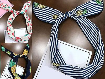 Women Girls Pineapple Fruit Hawaii retro Wire Bunny Ear bow scarf Hair headband  - Pineapple Headband